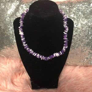 Jewelry - Purple Sea Shell Necklace And white Anklet